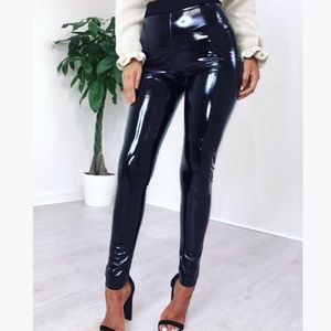Black PU Leather Shiny Latex Fully Lined Leggings